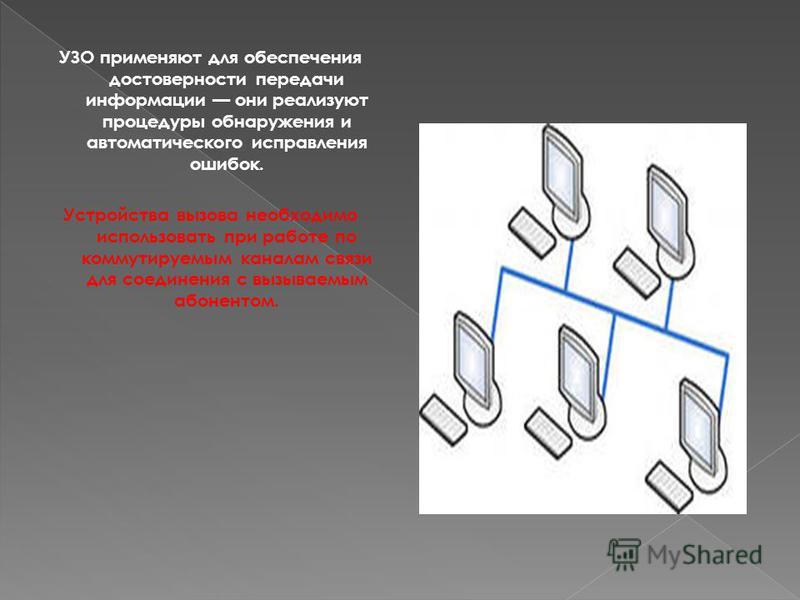 УЗО применяют для обеспечения достоверности передачи информации они реализуют процедуры обнаружения и автоматического исправления ошибок. Устройства вызова необходимо использовать при работе по коммутируемым каналам связи для соединения с вызываемым