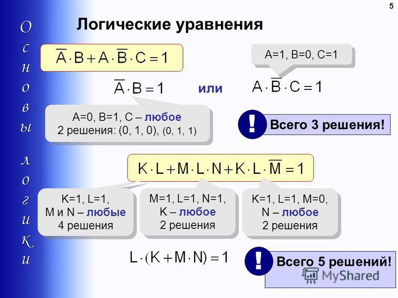5 Логические уравнения A=0, B=1, C – любое 2 решения: (0, 1, 0), (0, 1, 1) A=0, B=1, C – любое 2 решения: (0, 1, 0), (0, 1, 1) или A=1, B=0, C=1 Всего 3 решения! ! K=1, L=1, M и N – любые 4 решения K=1, L=1, M и N – любые 4 решения M=1, L=1, N=1, K –