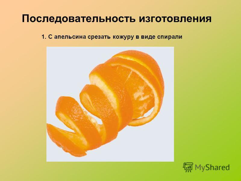 Последовательность изготовления 1. С апельсина срезать кожуру в виде спирали
