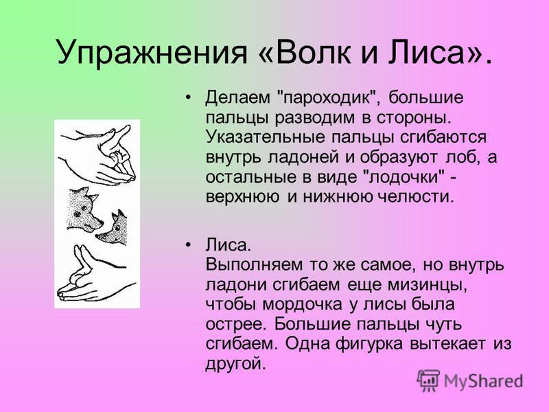 Упражнения «Волк и Лиса». Делаем