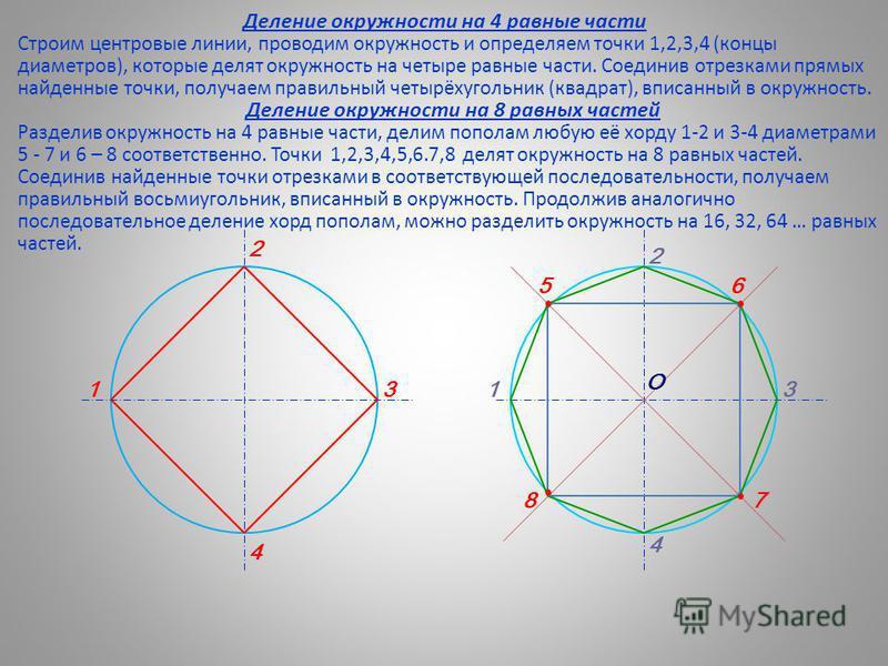 Деление окружности на 4 равные части Строим центровые линии, проводим окружность и определяем точки 1,2,3,4 (концы диаметров), которые делят окружность на четыре равные части. Соединив отрезками прямых найденные точки, получаем правильный четырёхугол