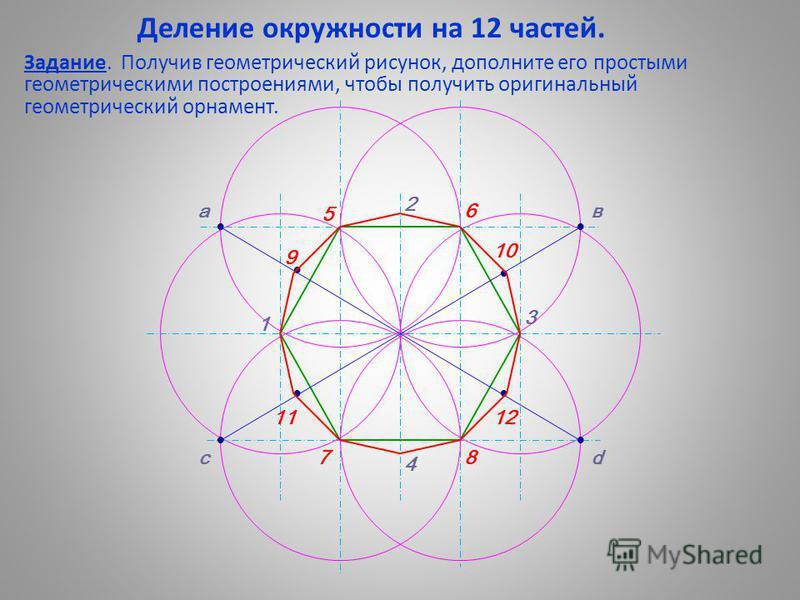 Деление окружности на 12 частей. Задание. Получив геометрический рисунок, дополните его простыми геометрическими построениями, чтобы получить оригинальный геометрический орнамент. 1 2 3 4 а с в d 5 6 78 9 10 1112