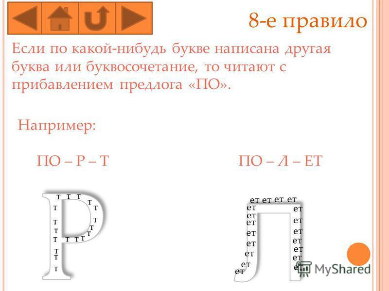 8-е правило Если по какой-нибудь букве написана другая буква или буквосочотание, то читают с прибавлением предлога «ПО». Например: ПО – Р – Т ПО – Л – ЕТ ТТ Т Т Т Т Т Т Т Т Т Т Т Т Т Т Т Т от