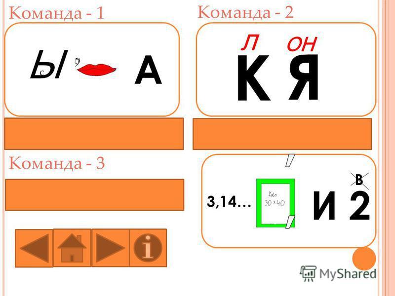 Команда - 1 Команда - 2 Команда - 3 Ы с А К Я Л ОН 3,14… И 2 В