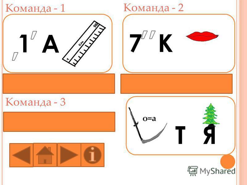 Команда - 1 Команда - 2 Команда - 3 1 А 7К о=а ТЯ