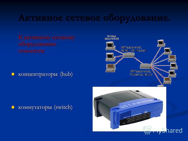 Активное сетевое оборудование. К активному сетевому оборудованию относятся: концентраторы (hub) концентраторы (hub) коммутаторы (switch) коммутаторы (switch)
