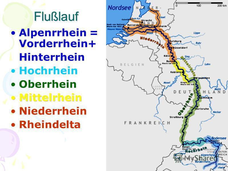 Flußlauf Alpenrrhein = Vorderrhein+ Hinterrhein Hochrhein Oberrhein MittelrheinMittelrhein Niederrhein Rheindelta