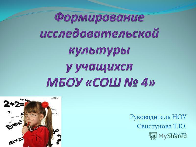 Руководитель НОУ Свистунова Т.Ю. 11.10.2013