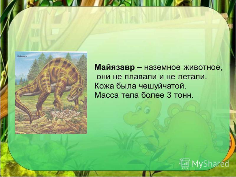 Майязавр – наземное животное, они не плавали и не летали. Кожа была чешуйчатой. Масса тела более 3 тонн.