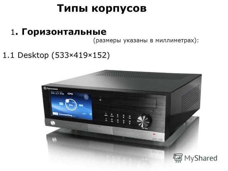 Типы корпусов 1. Горизонтальные (размеры указаны в миллиметрах): 1.1 Desktop (533×419×152)
