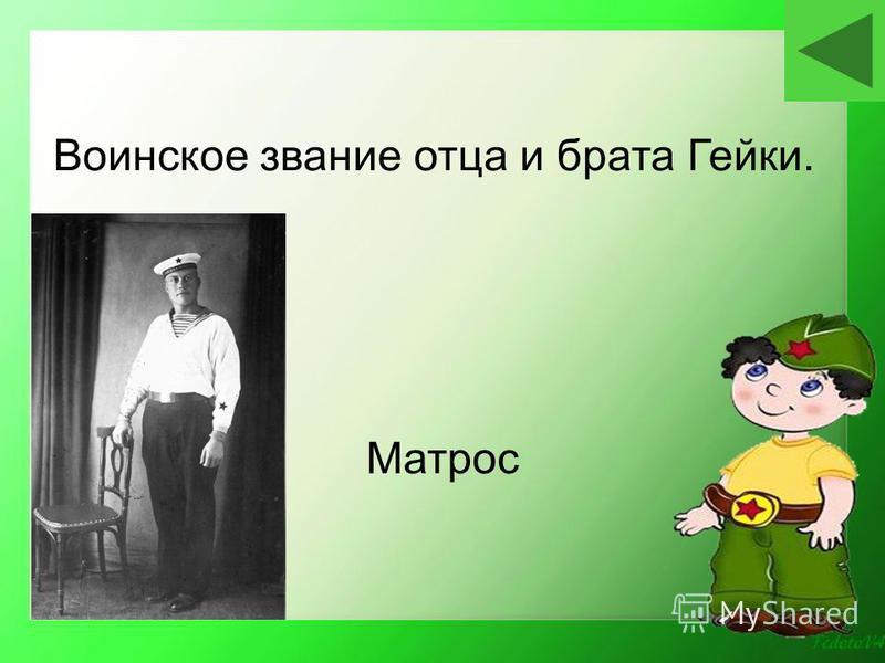 Матрос Воинское звание отца и брата Гейки.