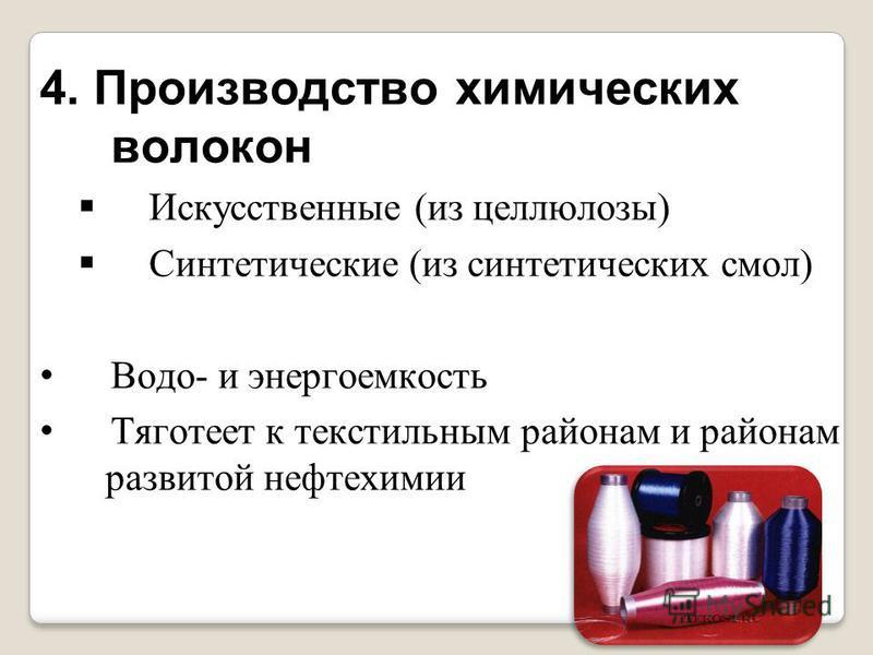 4. Производство химических волокон Искусственные (из целлюлозы) Синтетические (из синтетических смол) Водо- и энергоемкость Тяготеет к текстильным районам и районам развитой нефтехимии