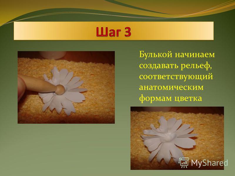 Булькой начинаем создавать рельеф, соответствующий анатомическим формам цветка