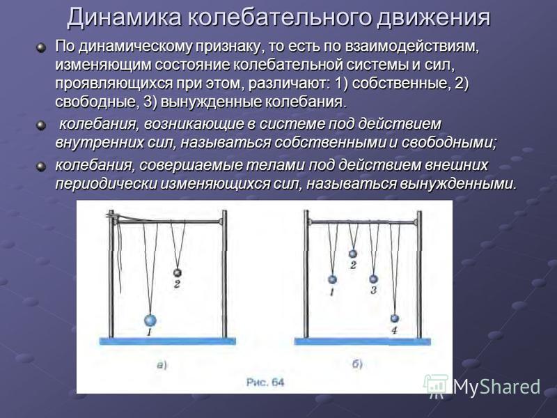 Динамика колебательного движения По динамическому признаку, то есть по взаимодействиям, изменяющим состояние колебательной системы и сил, проявляющихся при этом, различают: 1) собственные, 2) свободные, 3) вынужденные колебания. колебания, возникающи