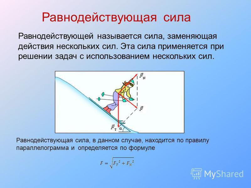 Равнодействующая сила Равнодействующей называется сила, заменяющая действия нескольких сил. Эта сила применяется при решении задач с использованием нескольких сил. Равнодействующая сила, в данном случае, находится по правилу параллелограмма и определ