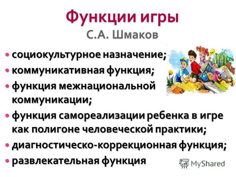 Функции игры С. А. Шмаков социокультурное назначение ; социокультурное назначение ; коммуникативная функция ; коммуникативная функция ; функция межнациональной коммуникации ; функция межнациональной коммуникации ; функция самореализации ребенка в игр