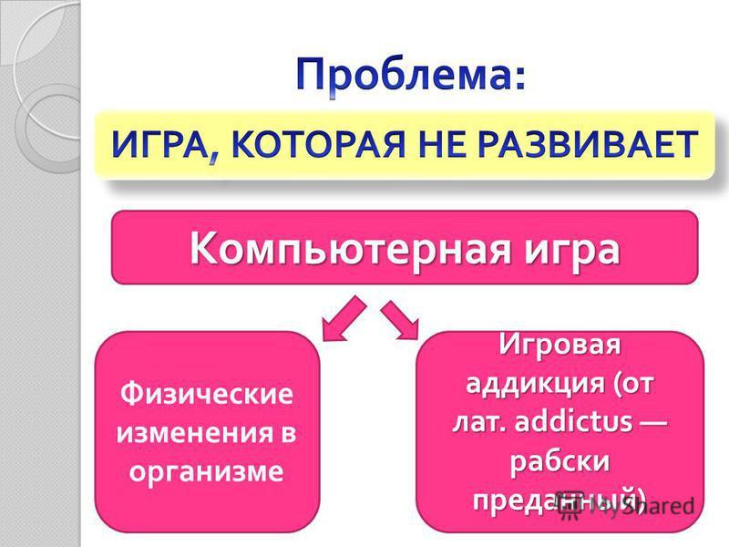 Игровая аддикция ( от лат. addictus рабски преданный ) Физические изменения в организме Компьютерная игра