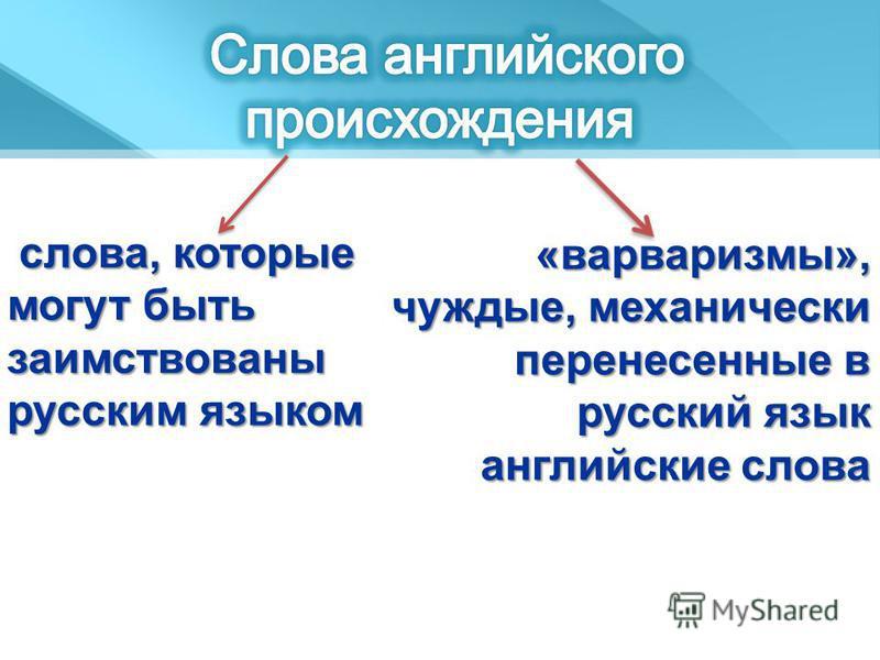 слова, которые могут быть заимствованы русским языком слова, которые могут быть заимствованы русским языком «варваризмы», чуждые, механически перенесенные в русский язык английские слова