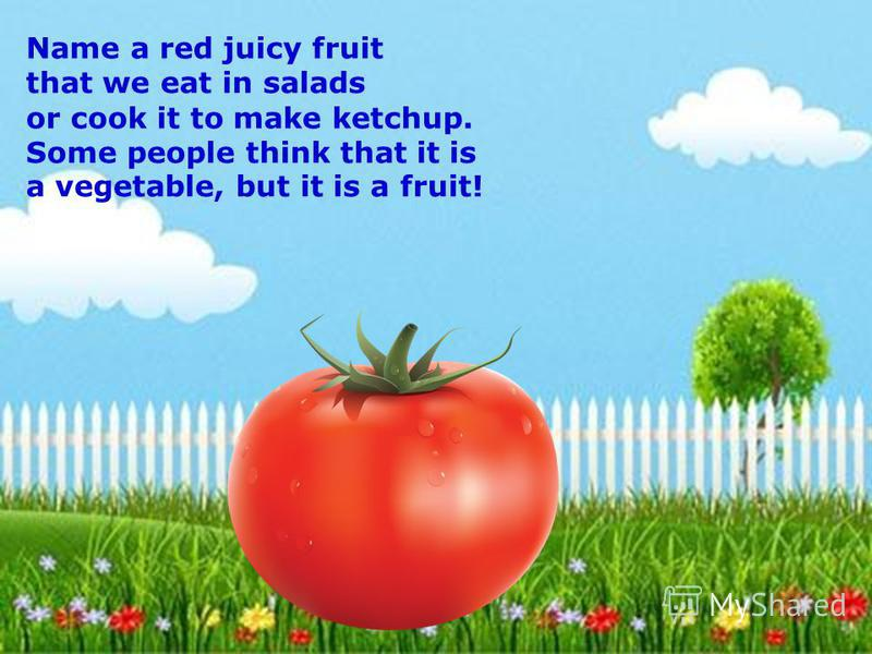 Name a red juicy fruit that we eat in salads or cook it to make ketchup. Some people think that it is a vegetable, but it is a fruit!