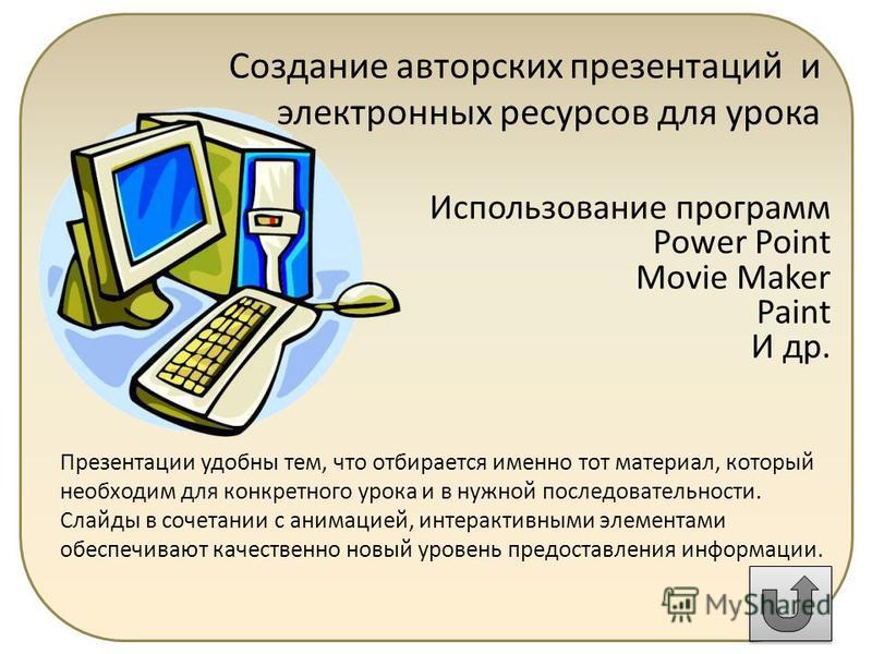 Создание авторских презентаций и электронных ресурсов для урока Использование программ Power Point Movie Maker Paint И др. Презентации удобны тем, что отбирается именно тот материал, который необходим для конкретного урока и в нужной последовательнос