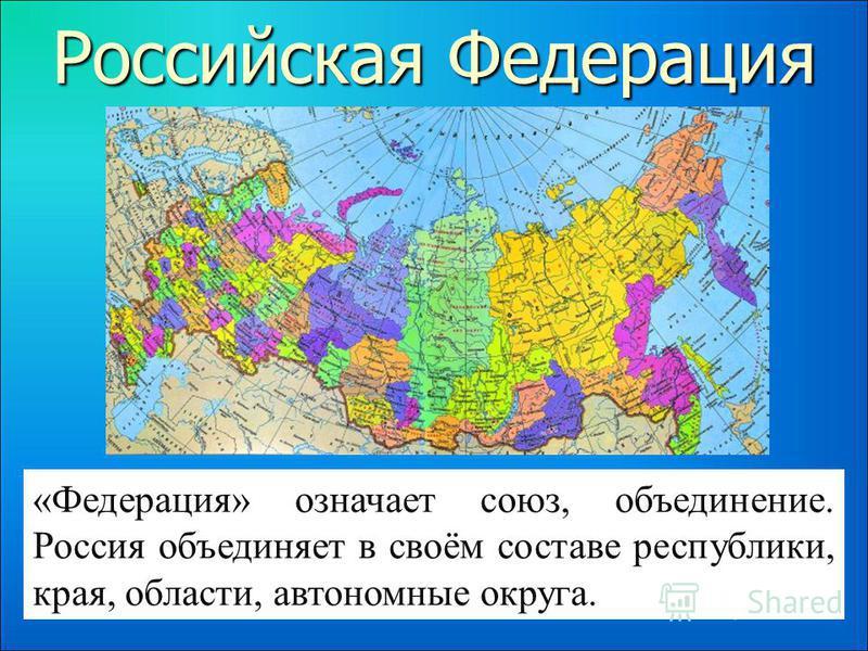 Российская Федерация «Федерация» означает союз, объединение. Россия объединяет в своём составе республики, края, области, автономные округа.