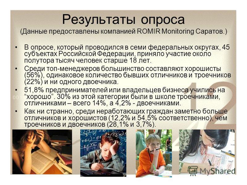 Результаты опроса (Данные предоставлены компанией ROMIR Monitoring Саратов.) В опросе, который проводился в семи федеральных округах, 45 субъектах Российской Федерации, приняло участие около полутора тысяч человек старше 18 лет. Среди топ-менеджеров