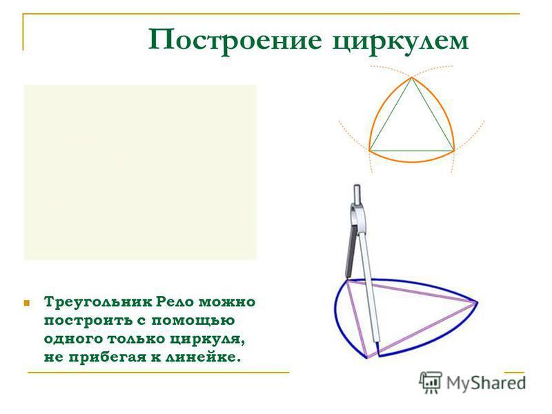 Построение циркулем Треугольник Рело можно построить с помощью одного только циркуля, не прибегая к линейке.