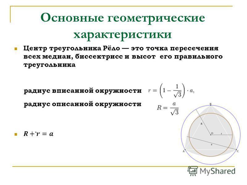 Основные геометрические характеристики радиус вписанной окружности радиус описанной окружности.