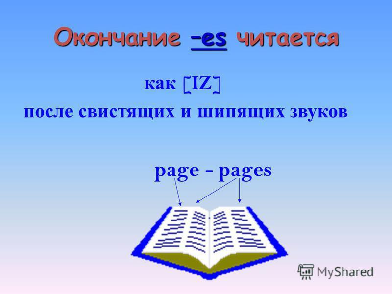 Окончание –es читается как [IZ] после свистящих и шипящих звуков page - pages