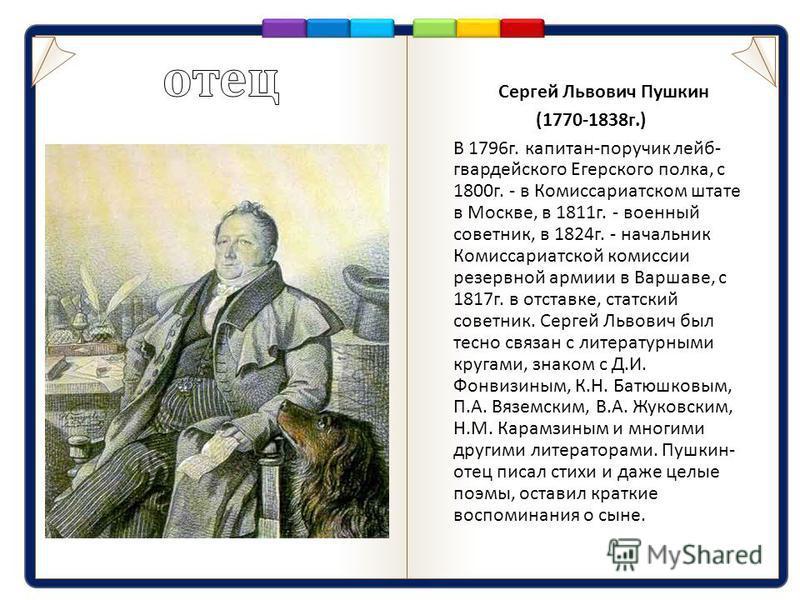 Сергей Львович Пушкин (1770-1838 г.) В 1796 г. капитан - поручик лейб - гвардейского Егерского полка, с 1800 г. - в Комиссариатском штате в Москве, в 1811 г. - военный советник, в 1824 г. - начальник Комиссариатской комиссии резервной армии в Варшаве