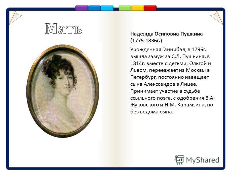 Надежда Осиповна Пушкина (1775-1836 г.) Урожденная Ганнибал, в 1796 г. вышла замуж за С. Л. Пушкина, в 1814 г. вместе с детьми, Ольгой и Львом, переезжает из Москвы в Петербург, постоянно навещает сына Алекссандра в Лицее. Принимает участие в судьбе