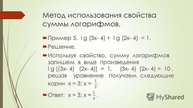 Метод использования свойства суммы логарифмов.
