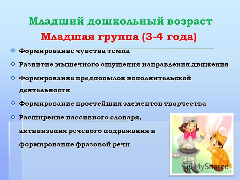 Младший дошкольный возраст Младший дошкольный возраст Младшая группа (3-4 года) Формирование чувства темпа Формирование чувства темпа Развитые мышечнего ощущения направления движения Развитые мышечнего ощущения направления движения Формирование предп