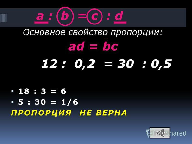 a : b = c : d 18 : 3 = 6 5 : 30 = 1/6 ПРОПОРЦИЯ НЕ ВЕРНА Основное свойство пропорции: ad = bc 12 : 0,2 = 30 : 0,5