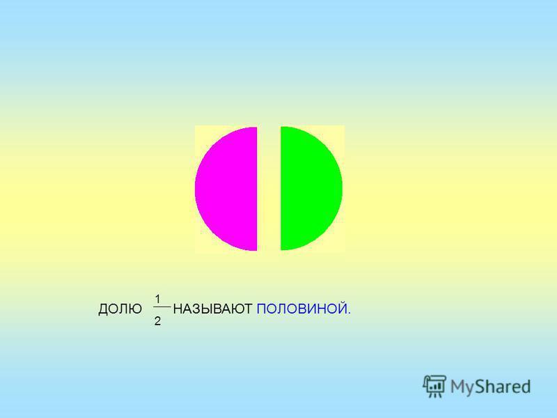 ДОЛЮ НАЗЫВАЮТ ПОЛОВИНОЙ. 1212