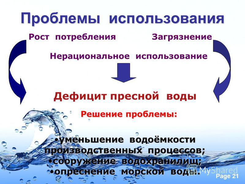 Page 21 Проблемы использования Рост потребления Загрязнение Нерациональное использование Дефицит пресной воды Решение проблемы: уменьшение водоёмкости производственных процессов; сооружение водохранилищ; опреснение морской воды.