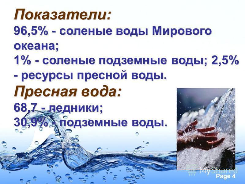 Page 4 Показатели: 96,5% - соленые воды Мирового океана; 1% - соленые подземные воды; 2,5% - ресурсы пресной воды. Пресная вода: 68,7 - ледники; 30,9% - подземные воды.
