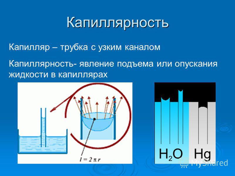 Капиллярность Капилляр – трубка с узким каналом Капиллярность- явление подъема или опускания жидкости в капиллярах