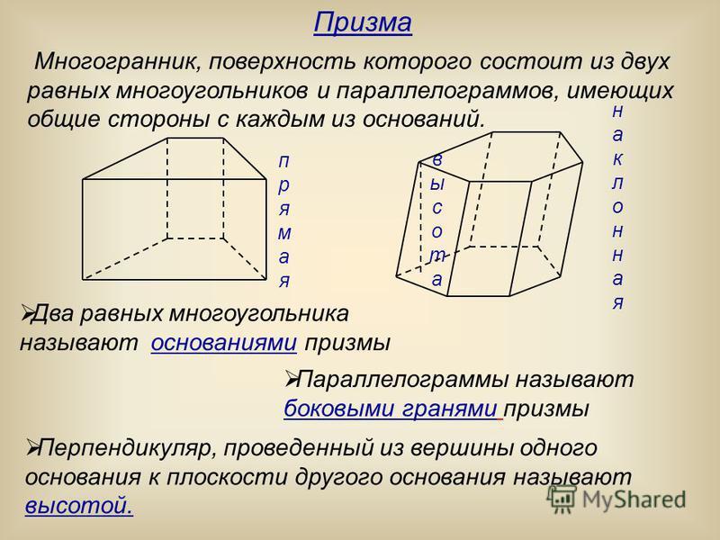 Многогранник, поверхность которого состоит из двух равных многоугольников и параллелограммов, имеющих общие стороны с каждым из оснований. высота прямая наклонная Призма Два равных многоугольника называют основаниями призмы Параллелограммы называют б