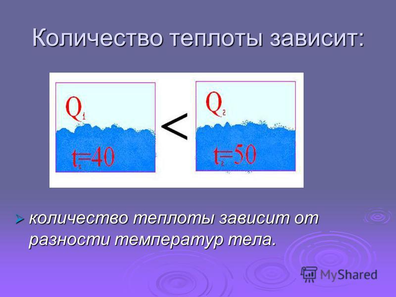 Количество теплоты зависит: количество теплоты зависит от разности температур тела. количество теплоты зависит от разности температур тела.