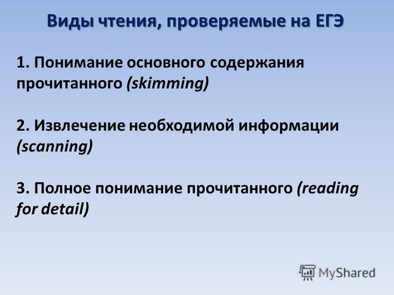 Виды чтения, проверяемые на ЕГЭ 1. Понимание основного содержания прочитанного (skimming) 2. Извлечение необходимой информации (scanning) 3. Полное понимание прочитанного (reading for detail)