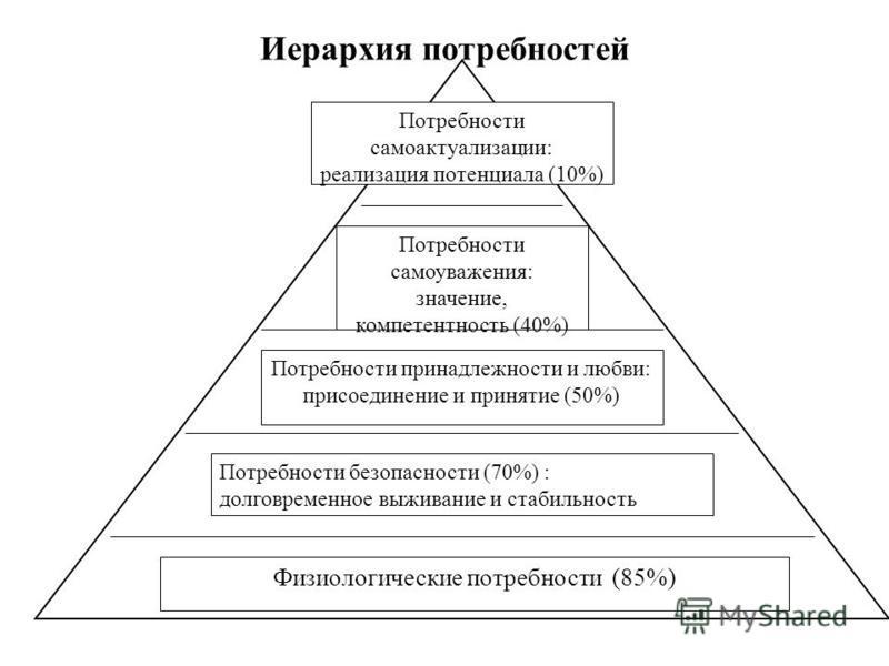Иерархия потребностей Физиологические потребности (85%) Потребности безопасности (70%) : долговременное выживание и стабильность Потребности принадлежности и любви: присоединение и принятие (50%) Потребности самоуважения: значение, компетентность (40