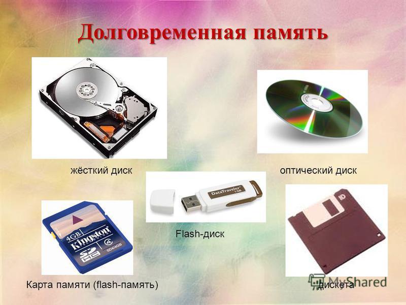 Долговременная память жёсткий диск оптический диск Карта памяти (flash-память) Flash-диск дискета