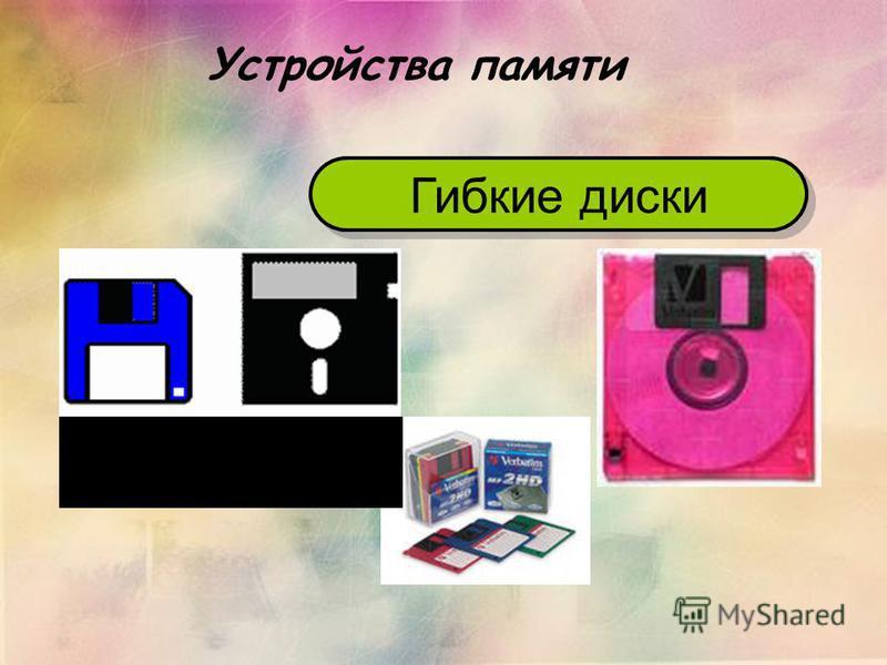 Устройства памяти Гибкие диски Дискета 3,5 дюйма Дискета 5,25 дюйма