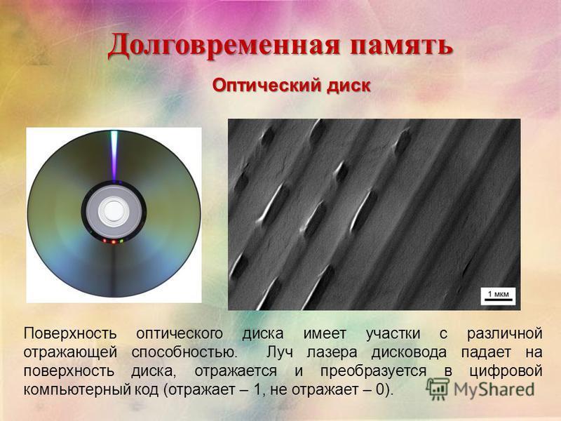 Долговременная память Оптический диск Поверхность оптического диска имеет участки с различной отражающей способностью. Луч лазера дисковода падает на поверхность диска, отражается и преобразуется в цифровой компьютерный код (отражает – 1, не отражает