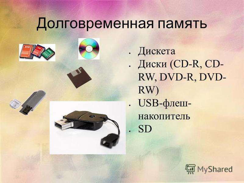 Долговременная память Дискета Диски (CD-R, CD- RW, DVD-R, DVD- RW) USB-флеш- накопитель SD
