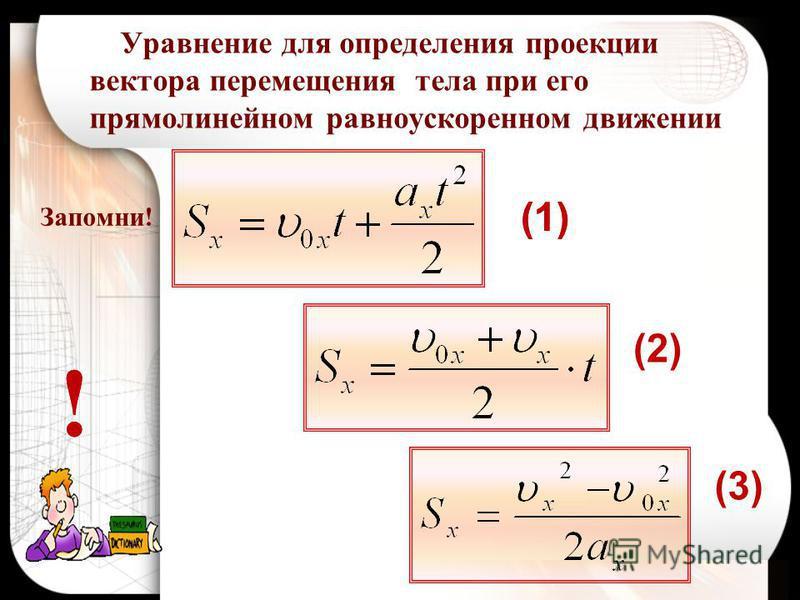 Запомни! Уравнение для определения проекции вектора перемещения тела при его прямолинейном равноускоренном движении (1) (2) (3) !! (1)