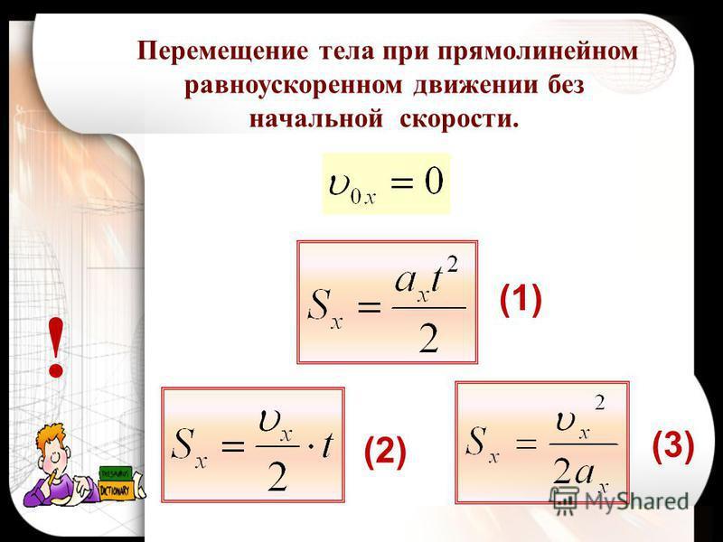 ! Перемещение тела при прямолинейном равноускоренном движении без начальной скорости. (1) (2) (3)