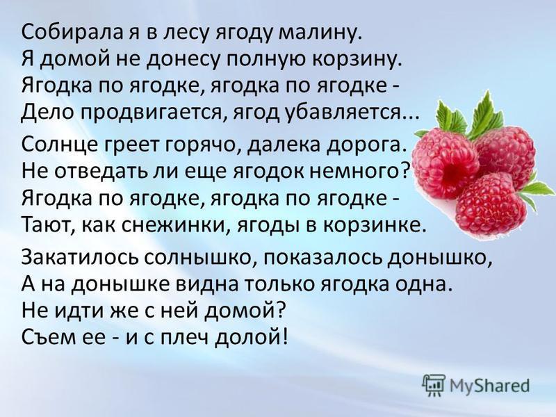 Собирала я в лесу ягоду малину. Я домой не донесу полную корзину. Ягодка по ягодке, ягодка по ягодке - Дело продвигается, ягод убавляется... Солнце греет горячо, далека дорога. Не отведать ли еще ягодок немного? Ягодка по ягодке, ягодка по ягодке - Т