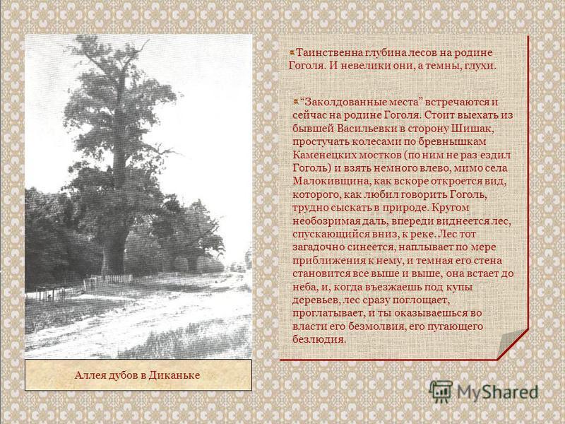 Аллея дубов в Диканьке Таинственна глубина лесов на родине Гоголя. И невелики они, а темны, глухи. Заколдованные места встречаются и сейчас на родине Гоголя. Стоит выехать из бывшей Васильевки в сторону Шишак, простучать колесами по бревнышкам Камене